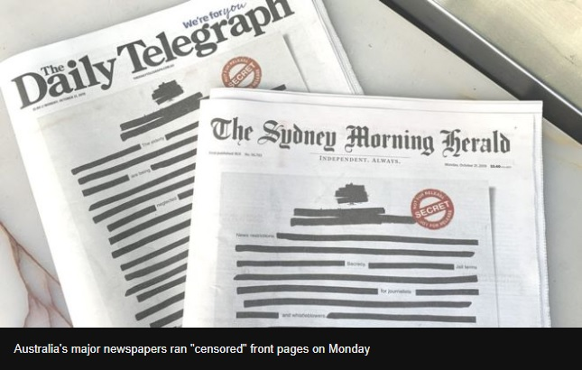 Australian newspapers black out front pages in secrecy protest