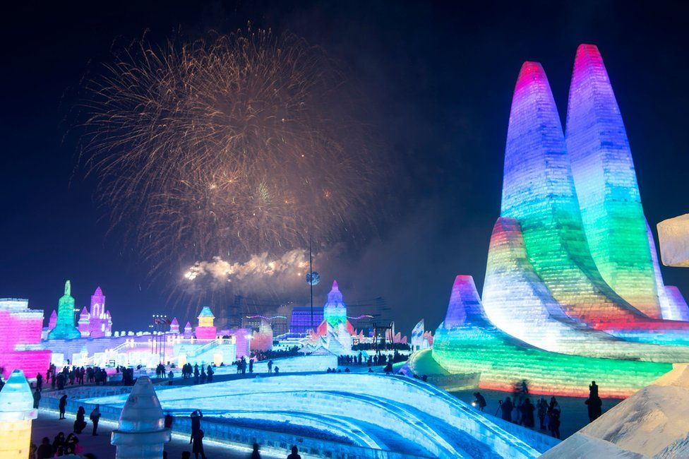 Towering ice palaces at Chinas Harbin Ice Festival
