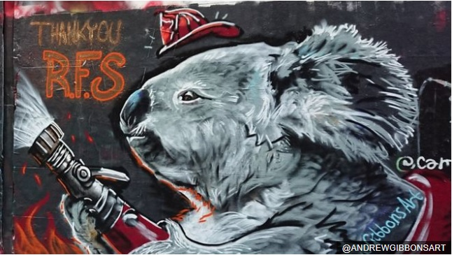 Australia fires: Graffiti artists tribute to firefighters