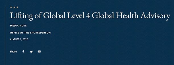 State Department lifts Global Level 4 Health Advisory